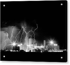 Budweiser Lightning Thunderstorm Moving Out Bw Acrylic Print