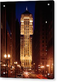 Buildings Lit Up At Night, Chicago Acrylic Print by Panoramic Images