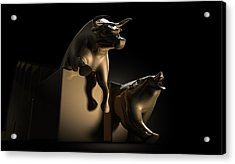 Bull And Bear Stock Market Statues Acrylic Print by Allan Swart