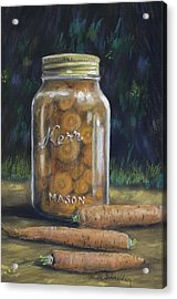 Acrylic Print featuring the painting Canned Carrots by Claude Schneider
