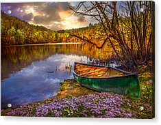 Canoe At The Lake Acrylic Print by Debra and Dave Vanderlaan