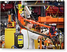 Car Production Assembly Line Acrylic Print by Jim West