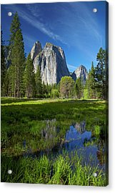 Cathedral Rocks Reflected In A Pond Acrylic Print