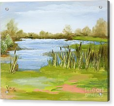 Acrylic Print featuring the painting Cattails At Forest Park by Vic  Mastis