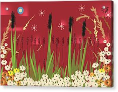 Acrylic Print featuring the digital art Cattails by Kim Prowse
