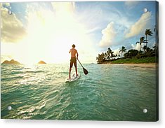 Caucasian Man On Paddle Board In Ocean Acrylic Print by Colin Anderson Productions Pty Ltd