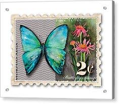 2 Cent Butterfly Stamp Acrylic Print by Amy Kirkpatrick