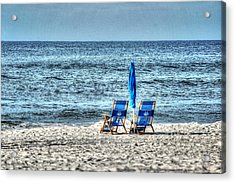 2 Chairs And Umbrella Acrylic Print by Michael Thomas