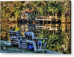 2 Chairs On The Magnolia River Acrylic Print