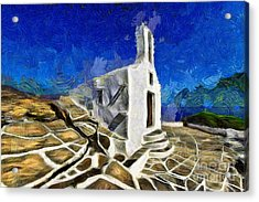 Chapel In Ios Island Acrylic Print