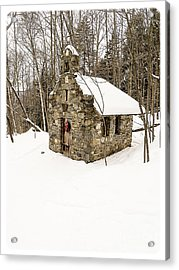 Chapel In The Woods Stowe Vermont Acrylic Print by Edward Fielding