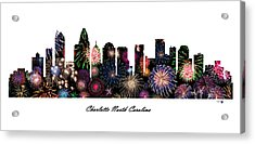 Charlotte North Carolina Fireworks Skyline Acrylic Print