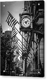 Chicago Macy's Clock In Black And White Acrylic Print by Paul Velgos