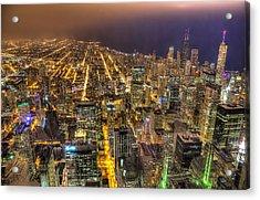 Chicago Skyline At Night - Hancock And Trump Acrylic Print by Michael  Bennett