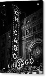 Chicago Theatre Sign In Black And White Acrylic Print