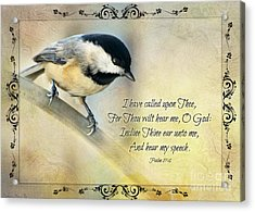 Chickadee With Verse Acrylic Print by Debbie Portwood