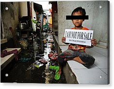 Child With Sign Acrylic Print by Matthew Oldfield