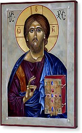 Christ Pantocrator Acrylic Print by Mary jane Miller