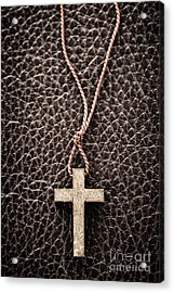 Christian Cross On Bible Acrylic Print by Elena Elisseeva