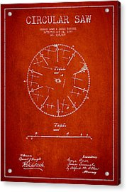 Circular Saw Patent Drawing From 1899 Acrylic Print