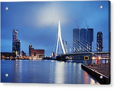 City Of Rotterdam At Night Acrylic Print