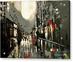 Cityscape Oil Painting Acrylic Print