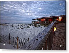 Acrylic Print featuring the painting Cloudy Morning At The Sea N Suds by Michael Thomas