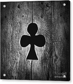 Clover Shape Cut Out Of Wooden Door Acrylic Print