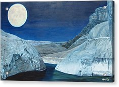 Cold Water Passage Beneath Full Moon Acrylic Print by Barbara Barber