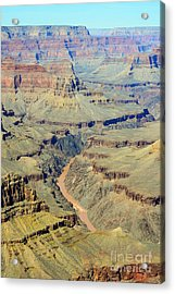 Colorado River Flowing Red Through Inner Gorge Grand Canyon National Park Acrylic Print by Shawn O'Brien