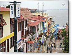 Colorful Houses On Cerro Santa Ana Acrylic Print by Sami Sarkis