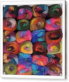 Colorful Knitting Yarn Acrylic Print by Les Palenik