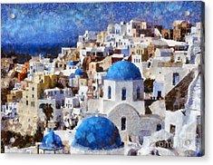Colorful Oia In Santorini Island Acrylic Print