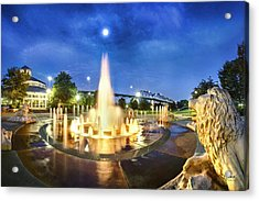 Coolidge Park Fountains At Night Acrylic Print