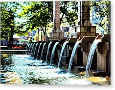 Copley Square Fountain In Boston Acrylic Print by Boris Mordukhayev