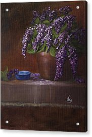 Copper Vase And Lilacs Acrylic Print