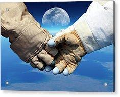 Cosmonaut And Astronaut Shaking Hands Acrylic Print by Detlev Van Ravenswaay