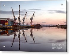 Cranes On The Clyde  Acrylic Print by John Farnan