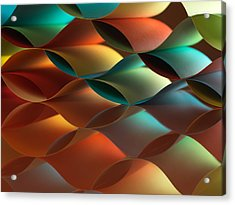Curved Colorful Sheets Paper With Mirror Reflexions Acrylic Print by Dan Comaniciu