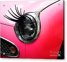 Cute Pink Car Acrylic Print by Jasna Buncic
