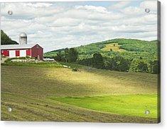 Cutting Hay In Summer On Maine Farm Acrylic Print