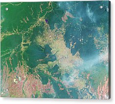Deforestation In The Amazon Acrylic Print by Nasa Earth Observatory