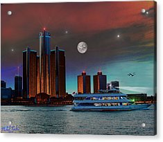 Detroit Skyline Acrylic Print by Michael Rucker