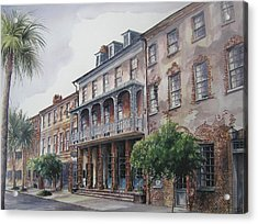 Acrylic Print featuring the painting Dock Street Theatre by Gloria Turner