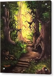 Acrylic Print featuring the painting Druid Forest by Megan Walsh