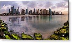 Dubai - Marina Skyline Panorama Acrylic Print by Jean Claude Castor