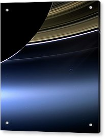 Earth And Moon From Saturn Acrylic Print by Nasa