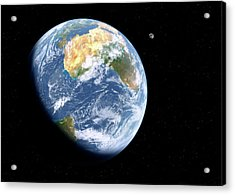 Earth And Moon From Space Acrylic Print by Detlev Van Ravenswaay