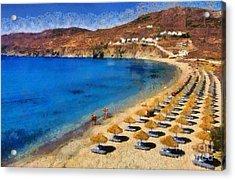 Elia Beach In Mykonos Island Acrylic Print by George Atsametakis