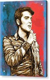 Elvis Presley - Modern Art Drawing Poster Acrylic Print by Kim Wang